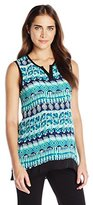 Three Seasons Maternity Women's Maternity Sl Placket Print Hi Lo Top, Value Not Found, Value Not Found