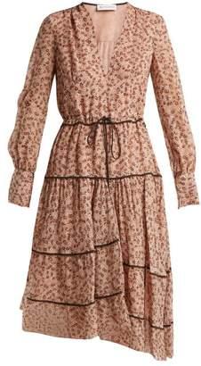 Altuzarra Isabel Floral-print Silk-blend Midi Dress - Womens - Beige Print