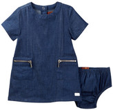 7 For All Mankind Chambray Shift Dress & Bloomer Set (Baby Girls)