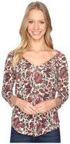 Lucky Brand Printed Pintuck Top Women's Clothing