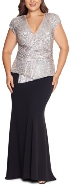 Xscape Evenings Plus Size Sequin-Top Scuba Crepe Gown
