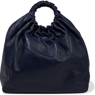 The Row Double Circle Gathered Leather Tote