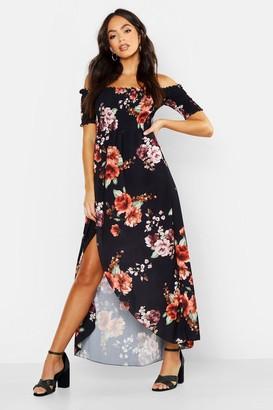 boohoo Floral Off Shoulder Maxi Dress