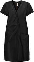Marni Gathered slub linen and silk-blend dress