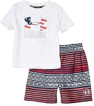 Under Armour Kids Freedom Gradient Stripe Volley (Toddler) (White) Boy's Swimwear Sets