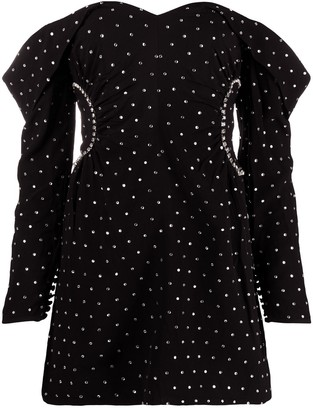 Self-Portrait Stud Embellished Off-Shoulder Dress