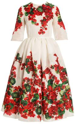 Dolce & Gabbana Embroidered Elbow-Sleeve Floral Print Dress