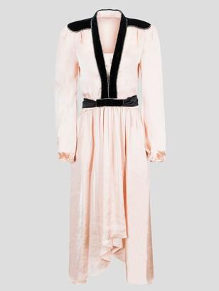 Philosophy di Lorenzo Serafini Long Sleeve Opaque Satin V-Neck Dress