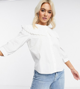 JDY shirt with oversized prairie collar in white