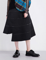 Junya Watanabe Zip-detailed asymmetric woven skirt