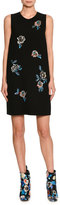 MSGM Embellished Sleeveless Shift Dress, Black/White