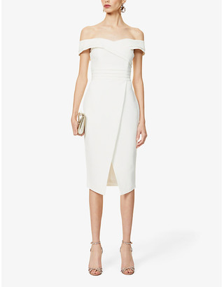 Lavish Alice Off-the-shoulder pleated stretch-crepe midi dress