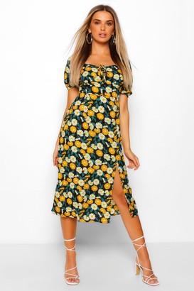 boohoo Floral Print Square Neck Midi Dress
