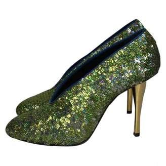 Lanvin Green Glitter Heels