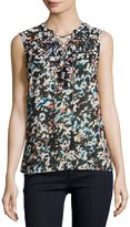 Laundry by Shelli Segal Floral-Print Lace-Up Chiffon Top, Black Pattern