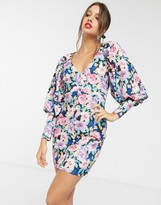 Asos Design DESIGN puff sleeve button through mini dress in black based floral print
