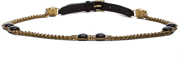 Sonia Rykiel Chain, Leather & Cabochon Belt