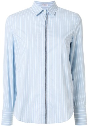 Brunello Cucinelli Stripe-Print Metal Detail Shirt