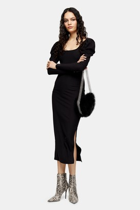Topshop Black Ribbed Puff Sleeve Bodycon Dress