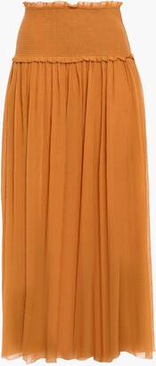 Zimmermann Crinkled Cotton And Silk-blend Midi Skirt