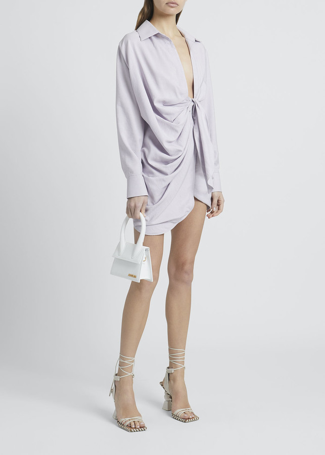 Jacquemus Collared Tie-Front Long-Sleeve Shirtdress