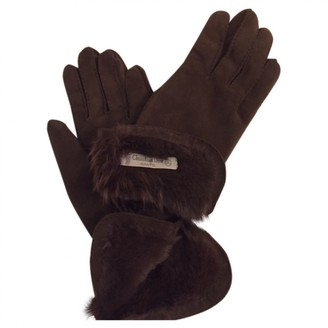 Christian Dior Brown Leather Gloves