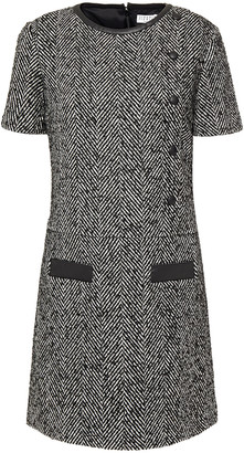 Claudie Pierlot Faux Leather-trimmed Herringbone Woven Mini Dress