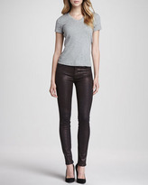 7 For All Mankind The Skinny Croc-Print Coated Jeans, Burgundy