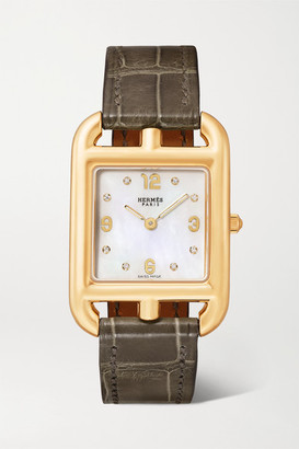 Mother of Pearl Hermès Timepieces Hermes Timepieces - Cape Cod 23mm Small 18-karat Gold, Alligator, Mother-of-pearl And Diamond Watch