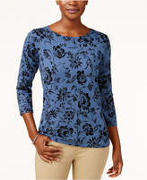 Karen Scott Printed Sweater, Only at Macy's