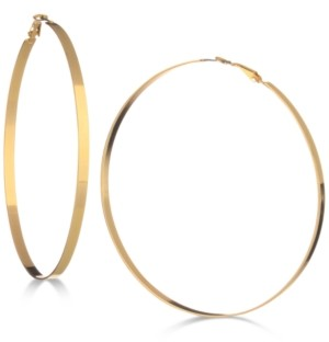 "GUESS 3-3/4"" Flat-Edge Hoop Earrings"