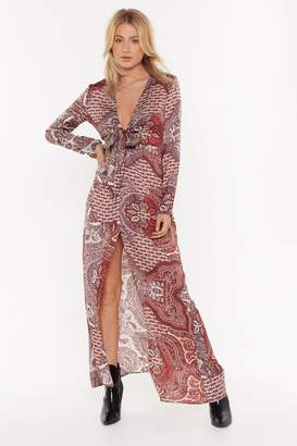 Nasty Gal Womens Paisley Attention Plunging Maxi Dress - red - 8