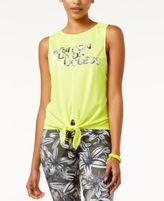 Energie Active Juniors' Tie-Front Mesh Graphic Tank Top