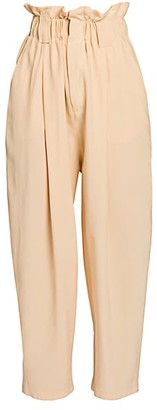 Fendi Paperbag Waist Washed Silk Crepe Trousers