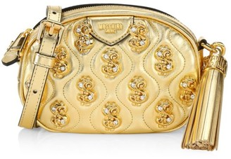 Moschino Dollar Sign Embellished Leather Crossbody Bag
