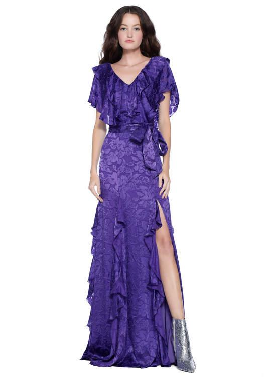 Alice + Olivia Tessa Ruffle Godet Maxi Dress