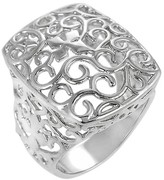 Journee Collection Women's Filigree Ring in Sterling Silver - Rectangle