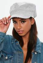 Missguided Grey Courduroy Baker Boy Hat