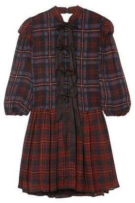 Philosophy di Lorenzo Serafini Bow-embellished Checked Chiffon Mini Dress
