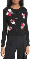 Milly Women's Beaded Wool Sweater With Genuine Rabbit Fur Trim
