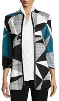 Misook Colorblock Jacket W/ Faux-Leather-Trim, Teal/Black/Ivory, Plus Size