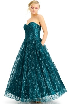 Blondie Nites Juniors' Corset Glitter Gown