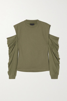 RtA Capucine Cold-shoulder Ruched Cotton-jersey Top - Army green