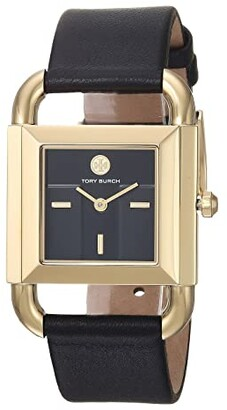 Tory Burch Phipps Leather Watch (Black - TBW7202) Watches
