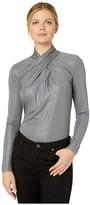 Lauren Ralph Lauren Twist-Neck Top (Lexington Grey Heather/Pewter Foil) Women's Clothing