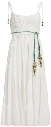 Zimmermann Edie Tiered Braid-Waist Midi Sun Dress