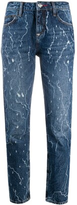 Philipp Plein Washed Effect Boyfriend Jeans