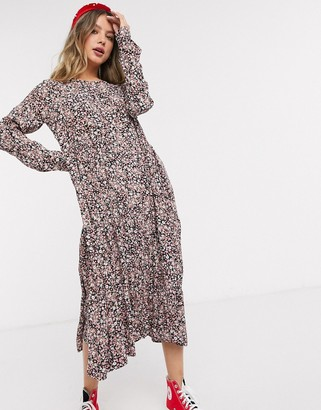 Pieces midi dress with ruffle hem in cream ditsy floral