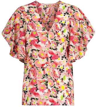 Stella McCartney Floral silk crepe blouse