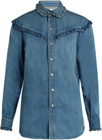Saint Laurent Ruffle-trimmed denim shirt